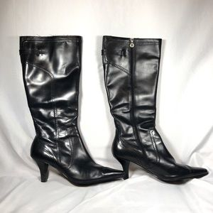 Etienne Aigner Tall Black Leather Heeled Boots